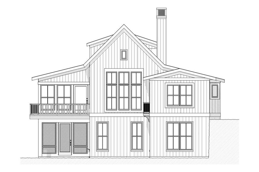 Home Plan Rear Elevation of this 3-Bedroom,2299 Sq Ft Plan -168-1011