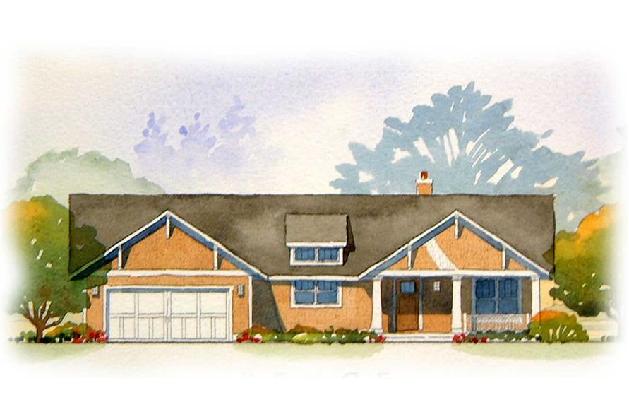 This is a colored rendering of these Ranch Home Plans.