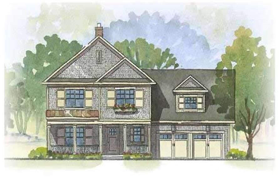 This image shows the front elevation of these Euorpean Home Plans.