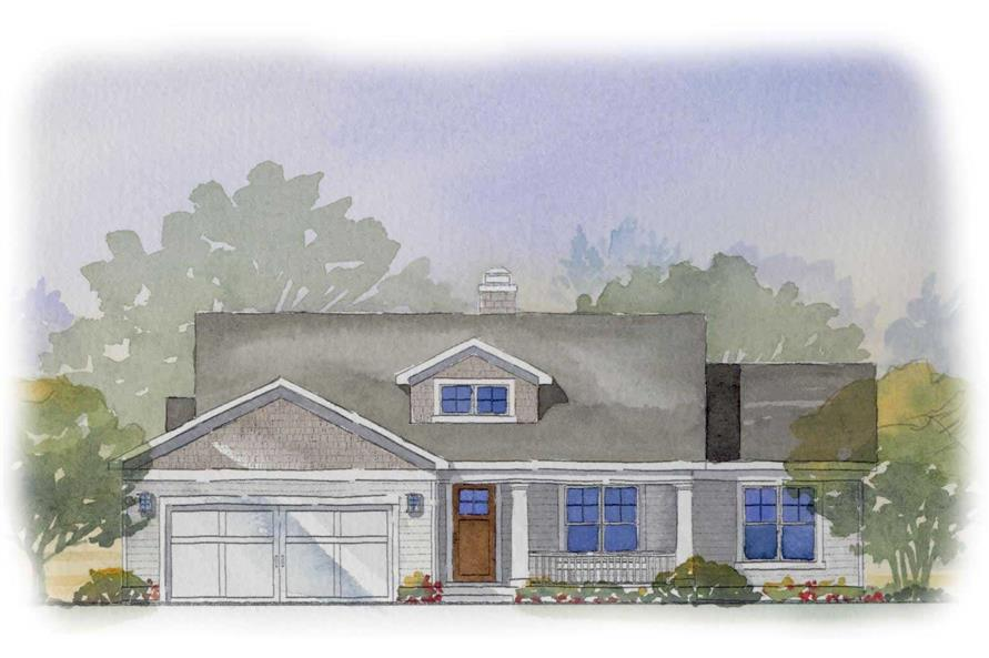 This image shows a colored rendering of these Traditional Houseplans.
