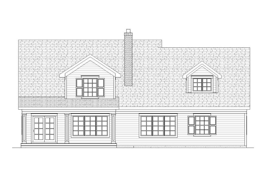 Home Plan Rear Elevation of this 4-Bedroom,2739 Sq Ft Plan -168-1018