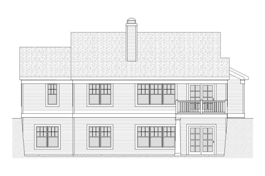 Home Plan Rear Elevation of this 4-Bedroom,2288 Sq Ft Plan -168-1022