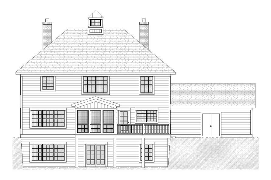 Home Plan Rear Elevation of this 4-Bedroom,2483 Sq Ft Plan -168-1025