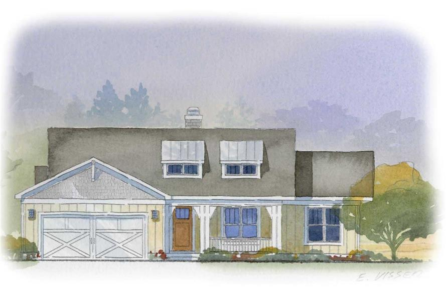This is a colored rendering for these Farmhouse House Plans.