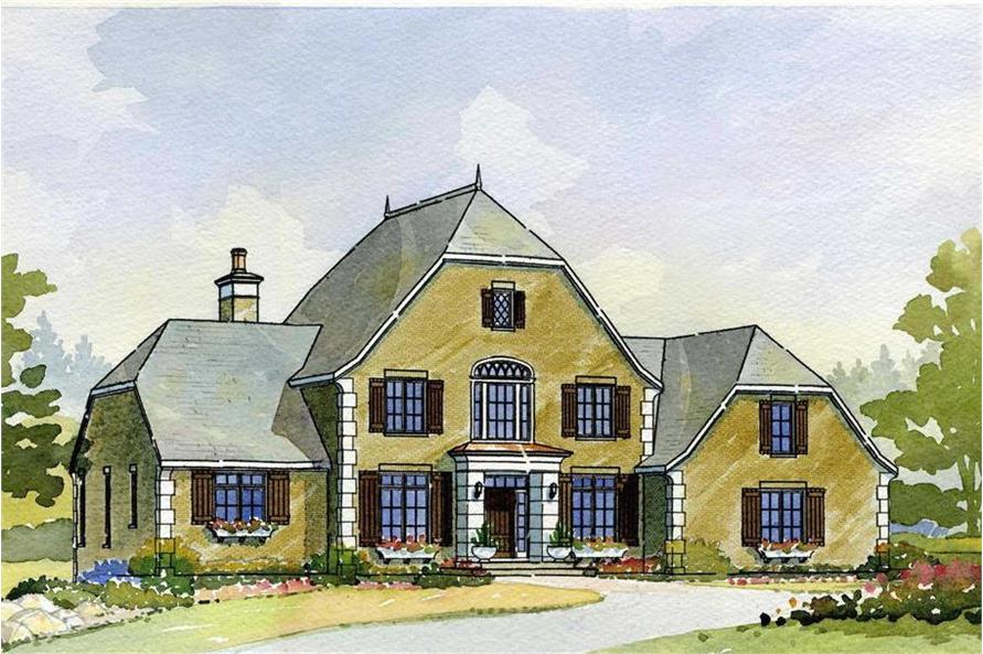 Artist's rendering of European home plan (ThePlanCollection: House Plan #168-1028)