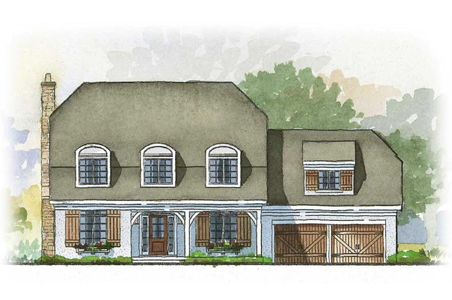 This image shows a colored front elevation of the Baxter Farmhouse House Plans.