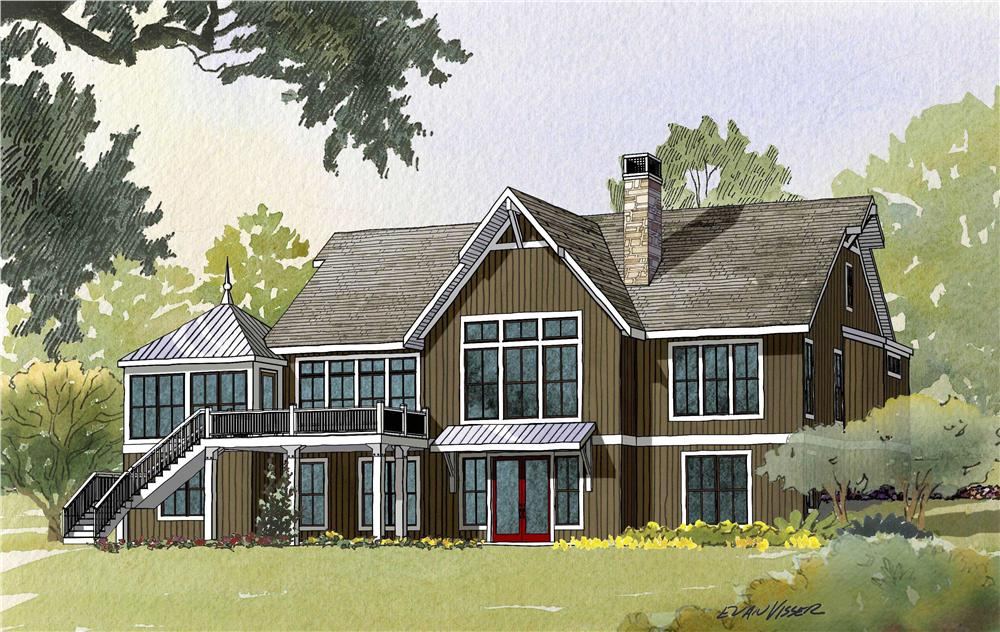 This image shows the rear of this set of Houseplans.