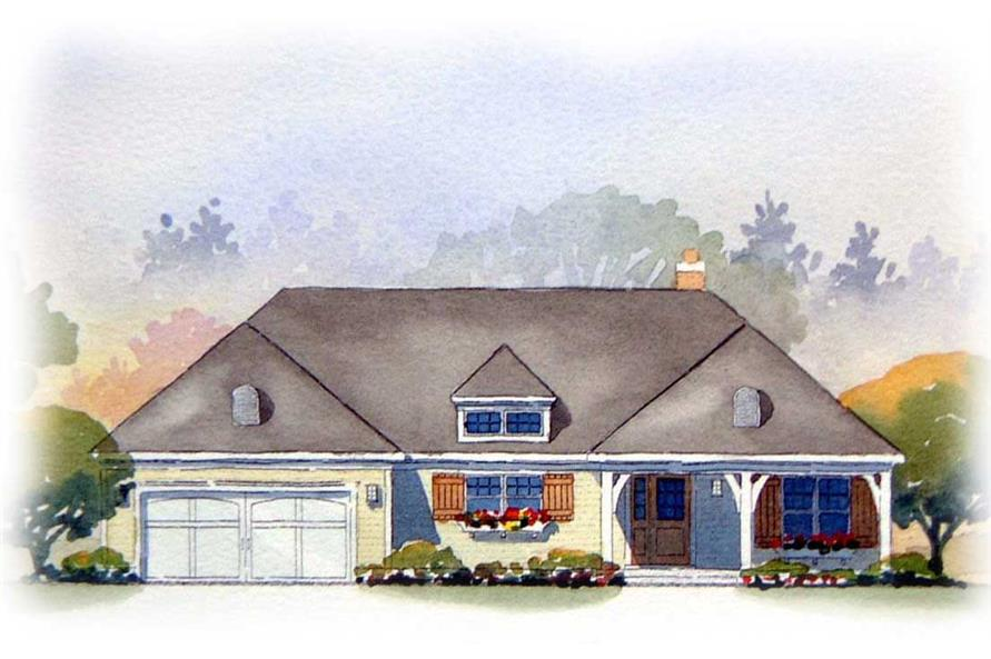 This is an artist's rendering of these European Ranch Home Plans.
