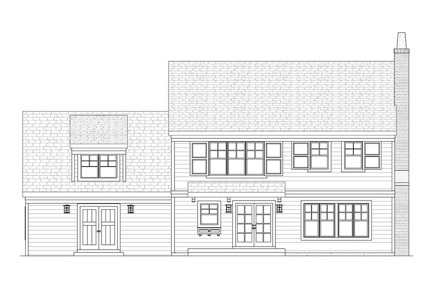 Home Plan Rear Elevation of this 3-Bedroom,2758 Sq Ft Plan -168-1043
