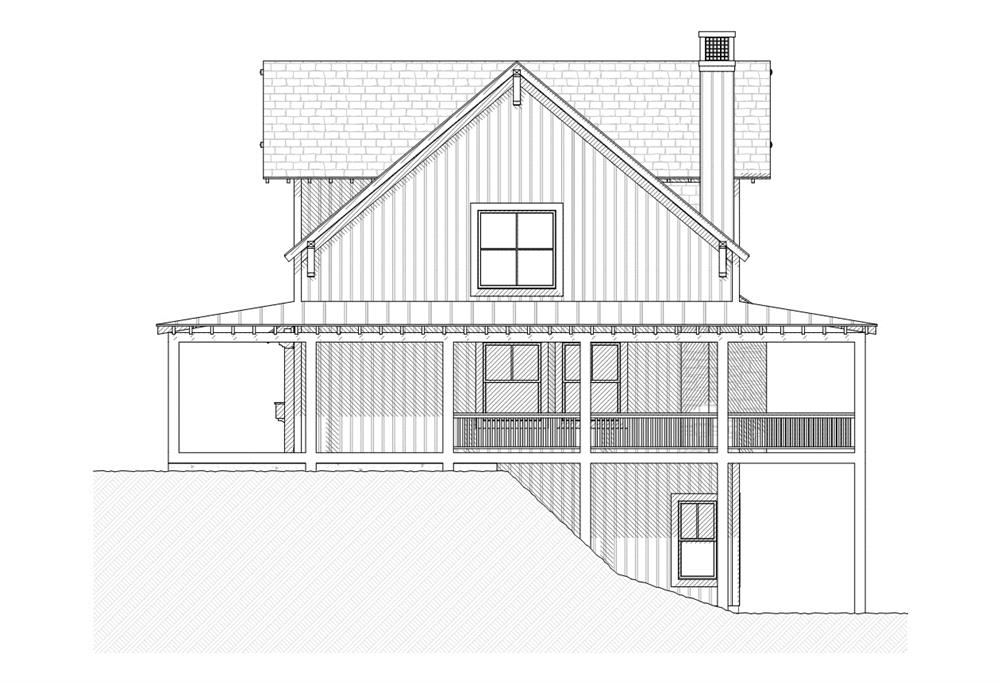 168-1044 house plan right elevation