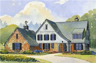 4-Bedroom, 3466 Sq Ft Country House Plan - 168-1045 - Front Exterior