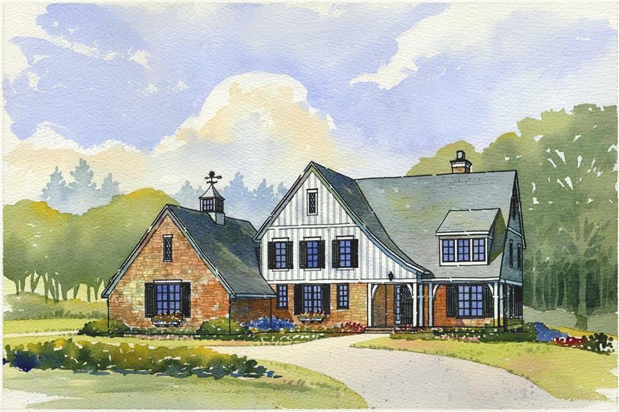 This is a colored rendering of these Farmhouse Houseplans.