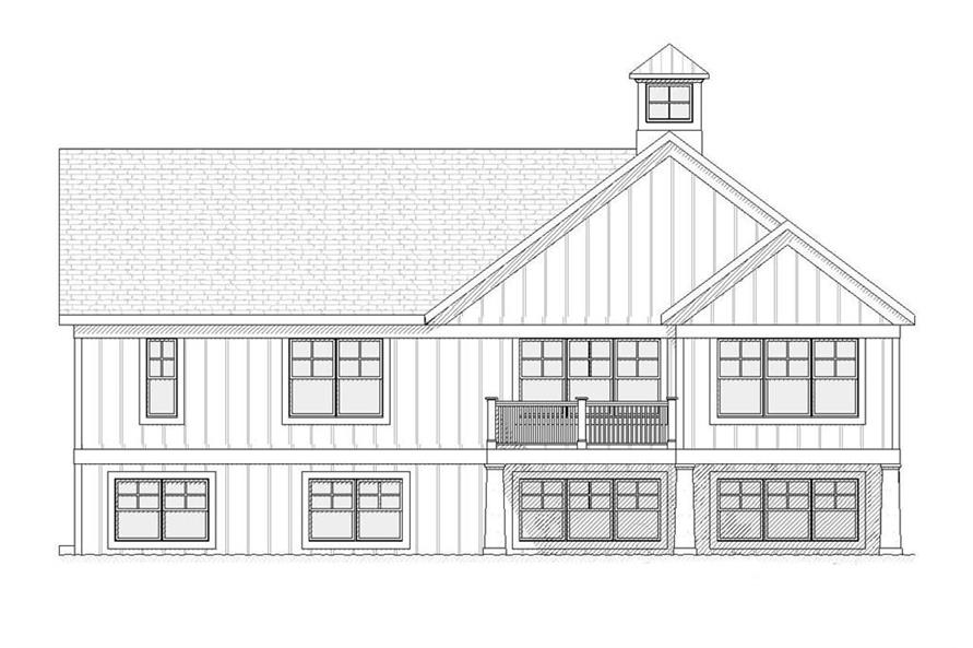 168-1049: Home Plan Rear Elevation