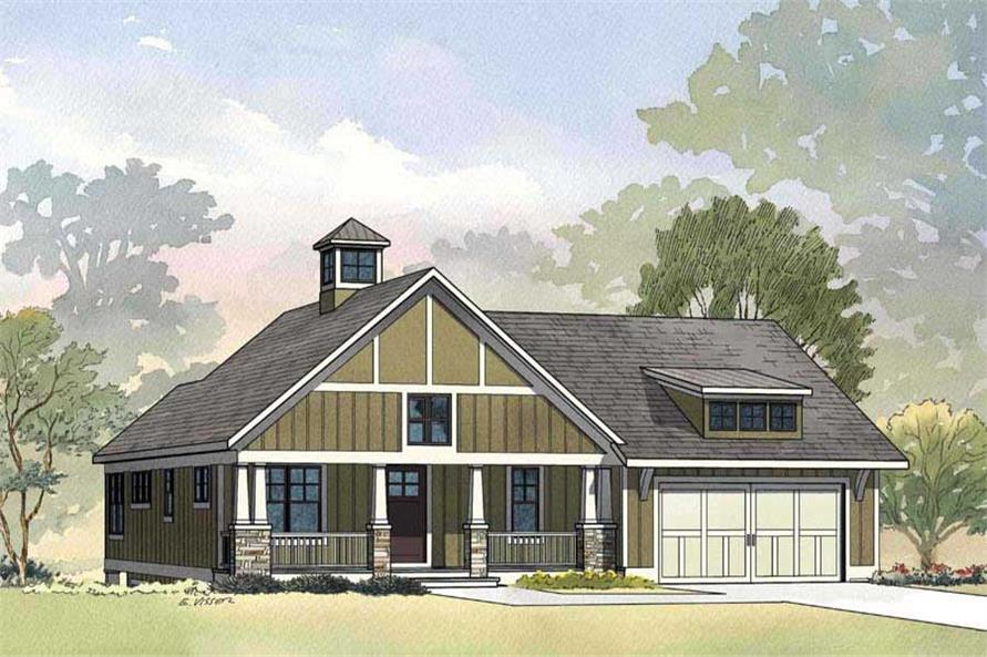 Artisit's rendering of Craftsman home (ThePlanCollection: House Plan #168-1049)