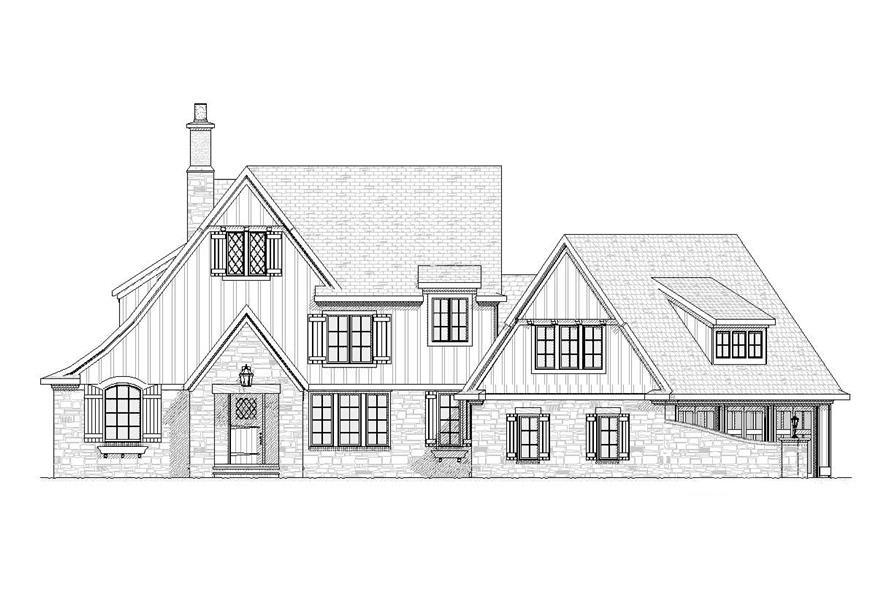 Home Plan Front Elevation of this 4-Bedroom,3438 Sq Ft Plan -168-1051