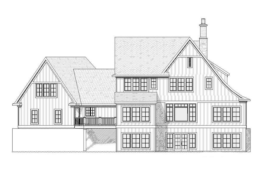 Home Plan Rear Elevation of this 4-Bedroom,3438 Sq Ft Plan -168-1051