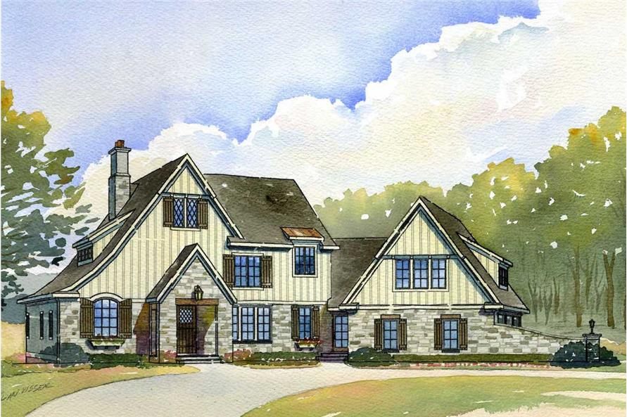 4-Bedroom, 3438 Sq Ft Country House Plan - 168-1051 - Front Exterior