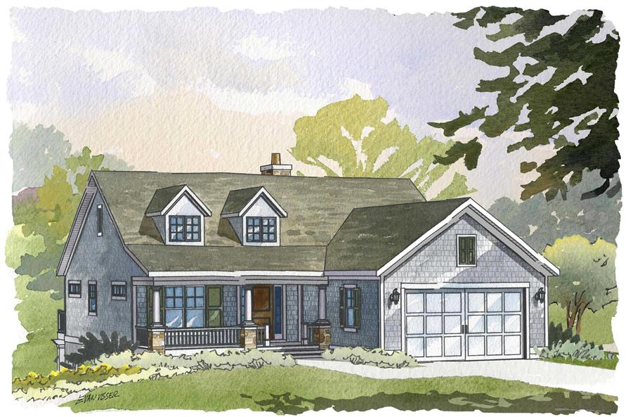 This is an artist's rendering of these Cape Cod House Plans.
