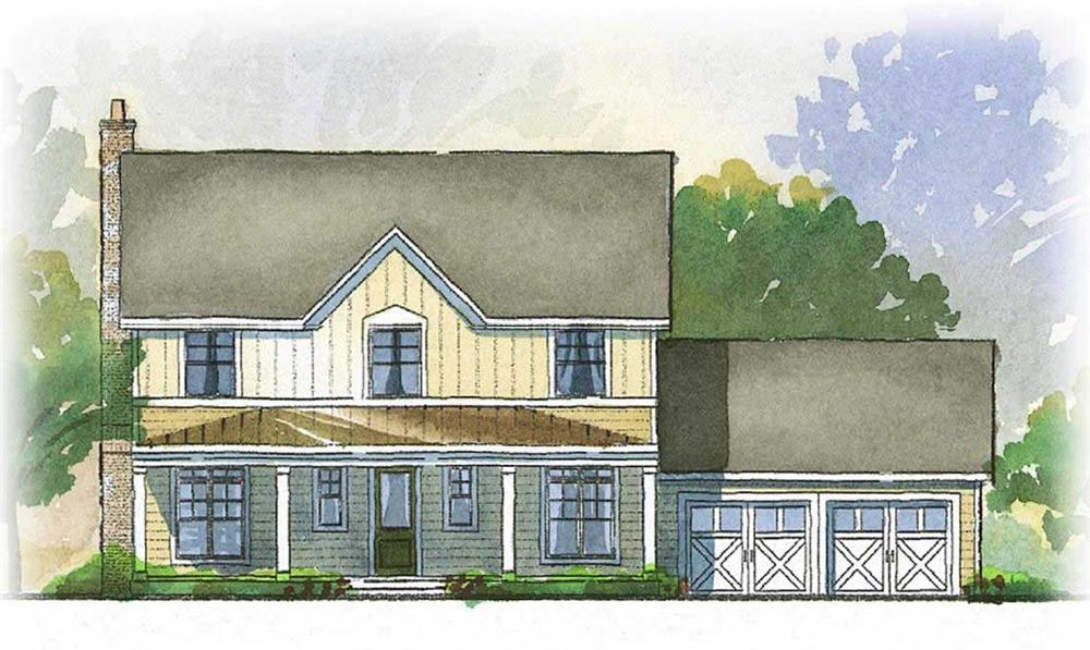 This is a colored rendering of these Farmhouse Home Plans.