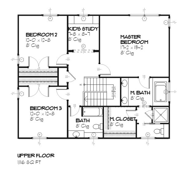 168-1056 house plan upper level