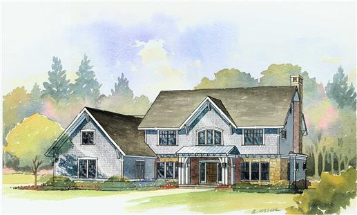 This is a colored rendering of the Dover Farmhouse Homeplans.