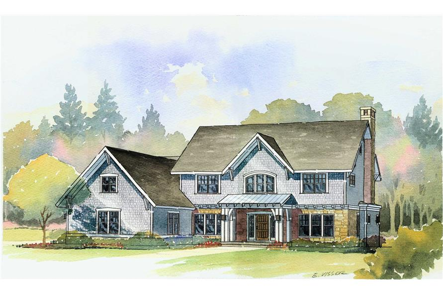 4-Bedroom, 3492 Sq Ft Country House Plan - 168-1057 - Front Exterior
