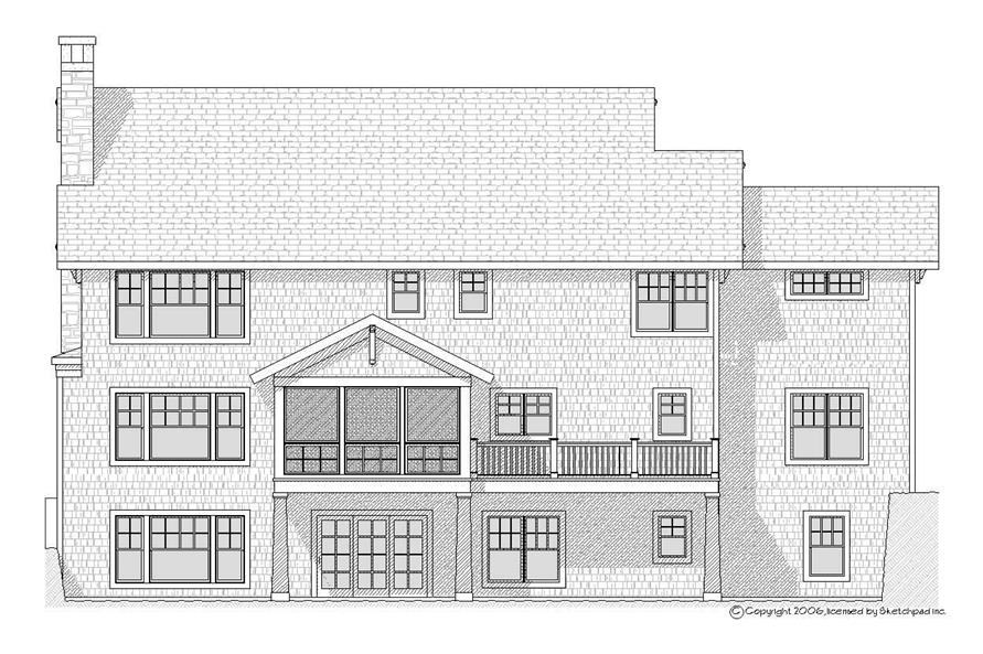 Home Plan Rear Elevation of this 4-Bedroom,3492 Sq Ft Plan -168-1057