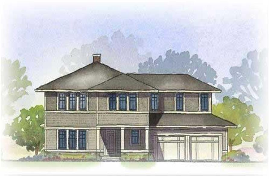 This image is a colored front elevation of these Prairie Homeplans.