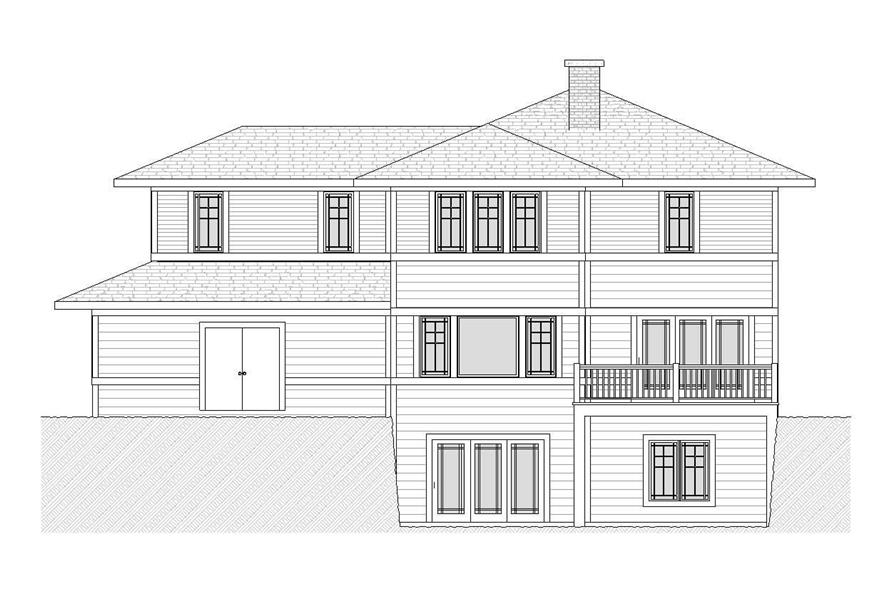 Home Plan Rear Elevation of this 3-Bedroom,2728 Sq Ft Plan -168-1058