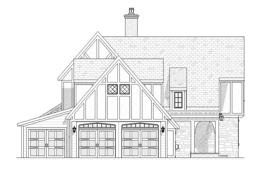 168-1063 house plan left elevation
