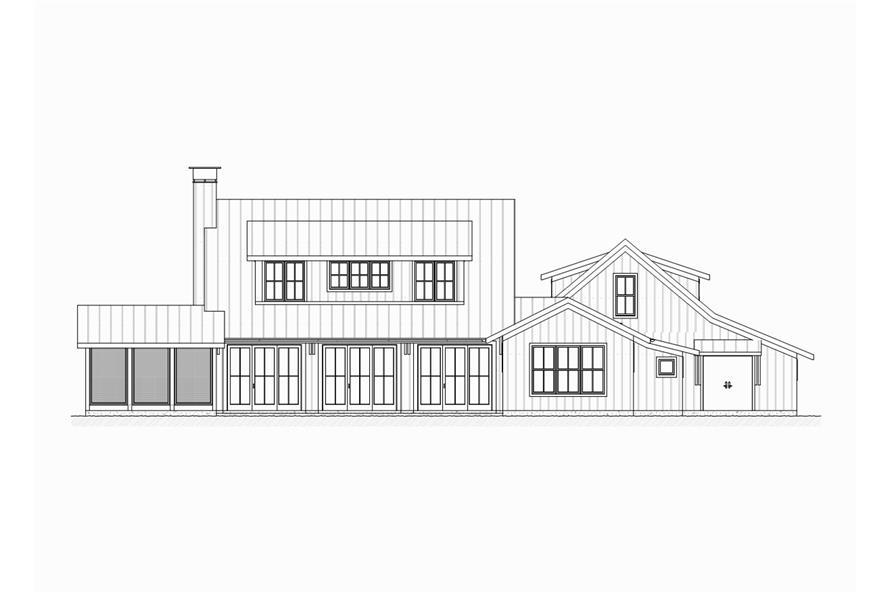 189-1065: Home Plan Rear Elevation