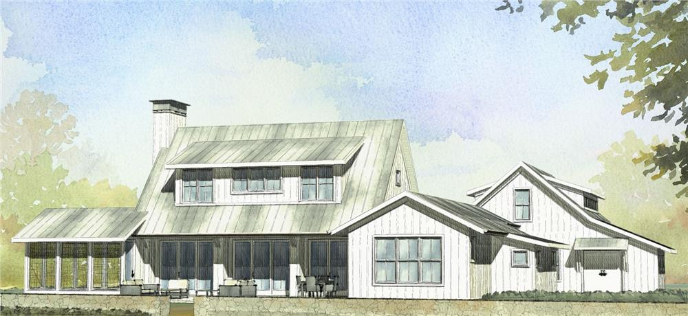 Front elevation of Farmhouse home (ThePlanCollection: House Plan #189-1065)