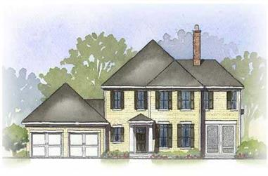 3-Bedroom, 2412 Sq Ft Colonial Home Plan - 168-1066 - Main Exterior