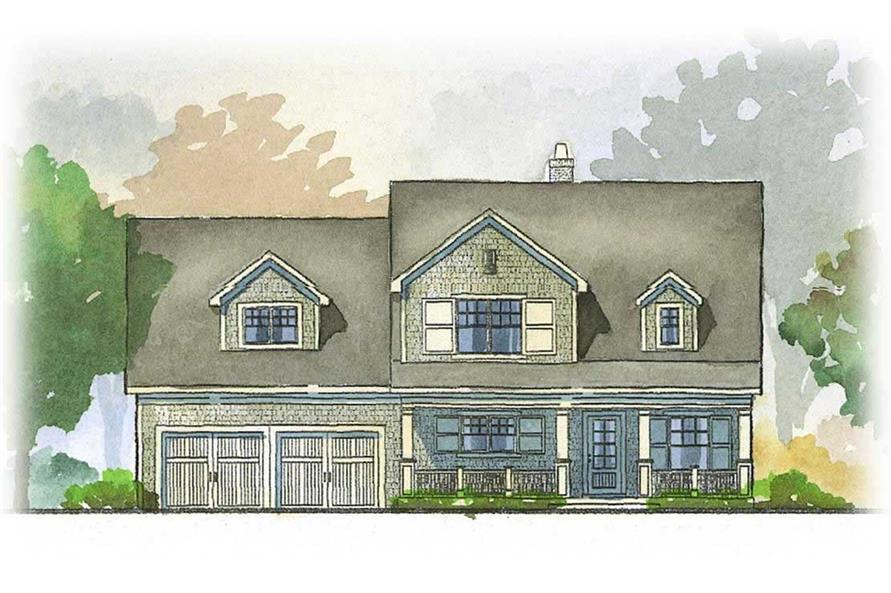 This is a front elevation of these Craftsman Country House Plans.