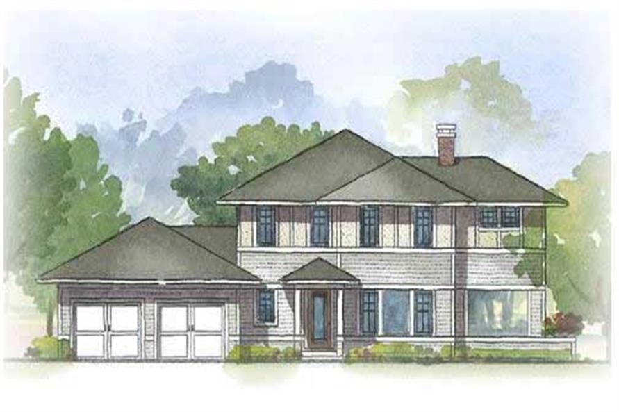 Color rendering of Prairie home (ThePlanCollection: House Plan #168-1074)