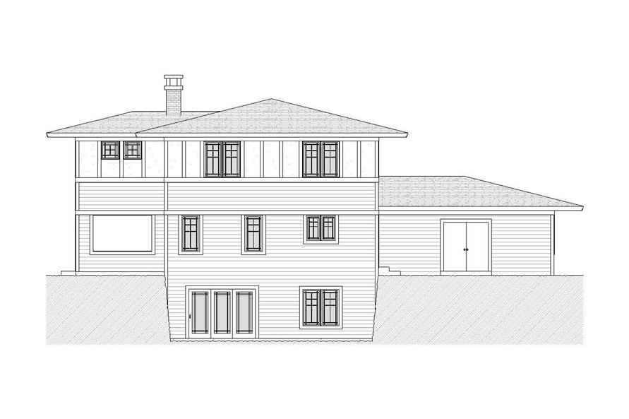 Home Plan Rear Elevation of this 3-Bedroom,2412 Sq Ft Plan -168-1074