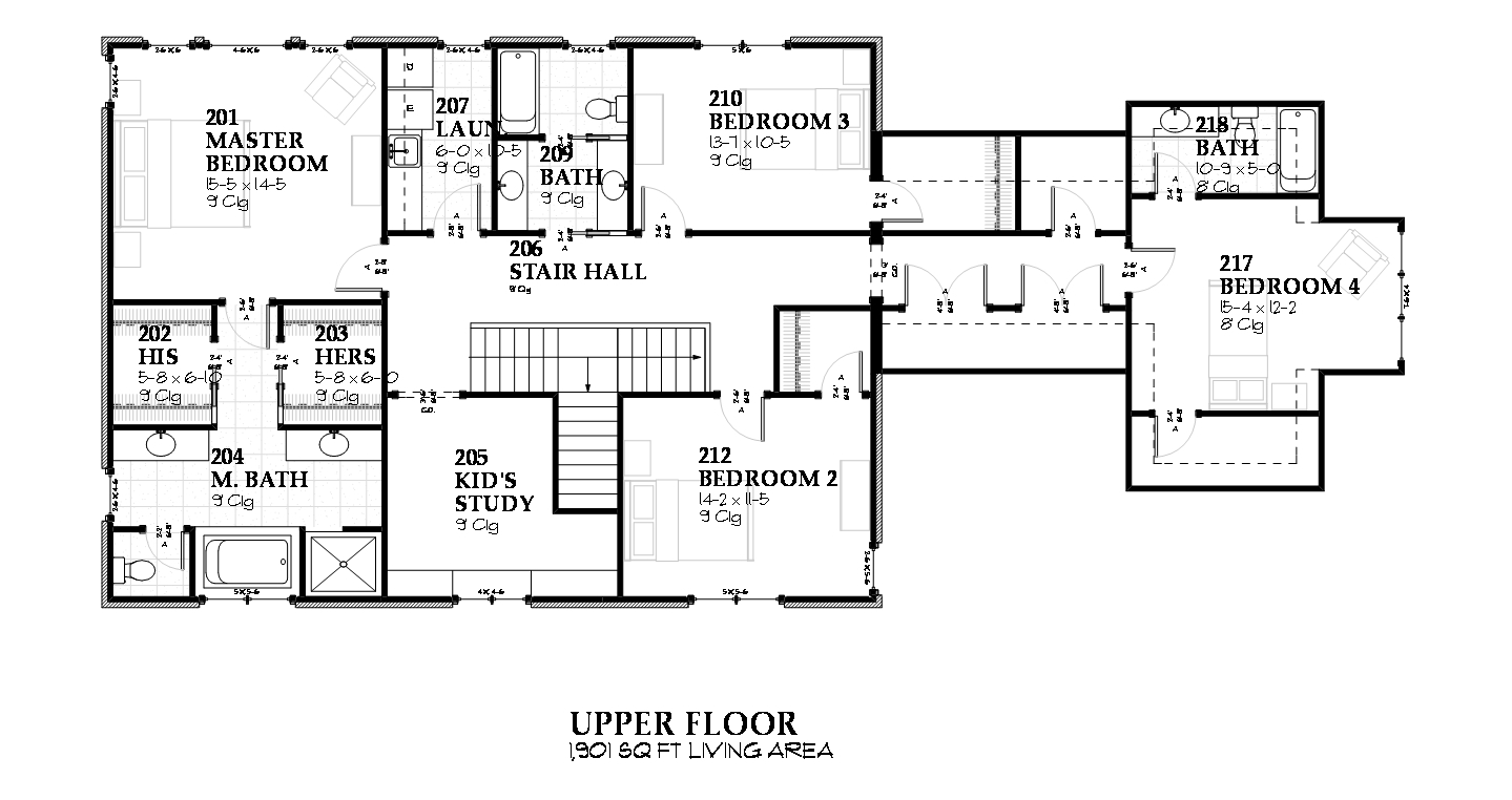 168-1075 house plan second story