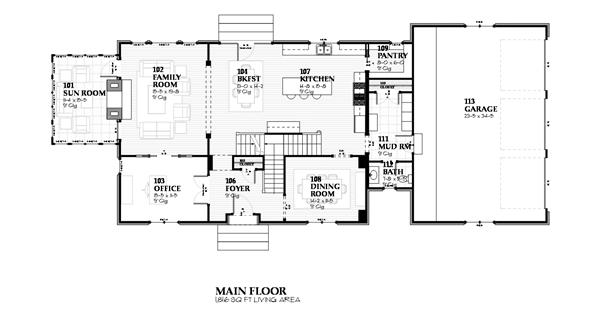 168-1075 house plan first floor