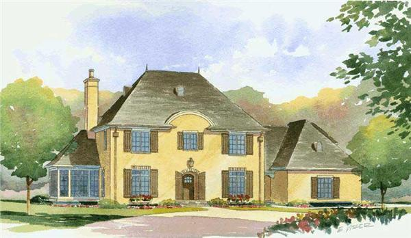 This is an artist's rendering of these French House Plans.