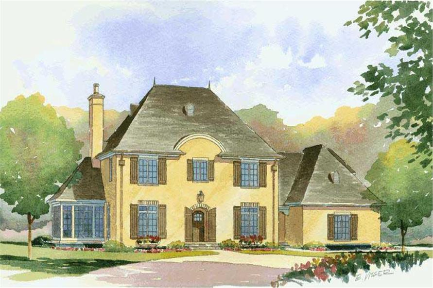 Artist's rendering of French house plan 168-1075 | The Plan Collection.