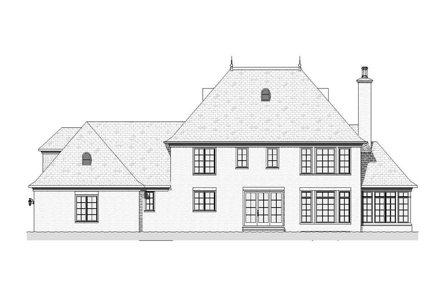 Home Plan Rear Elevation of this 4-Bedroom,3623 Sq Ft Plan -168-1075