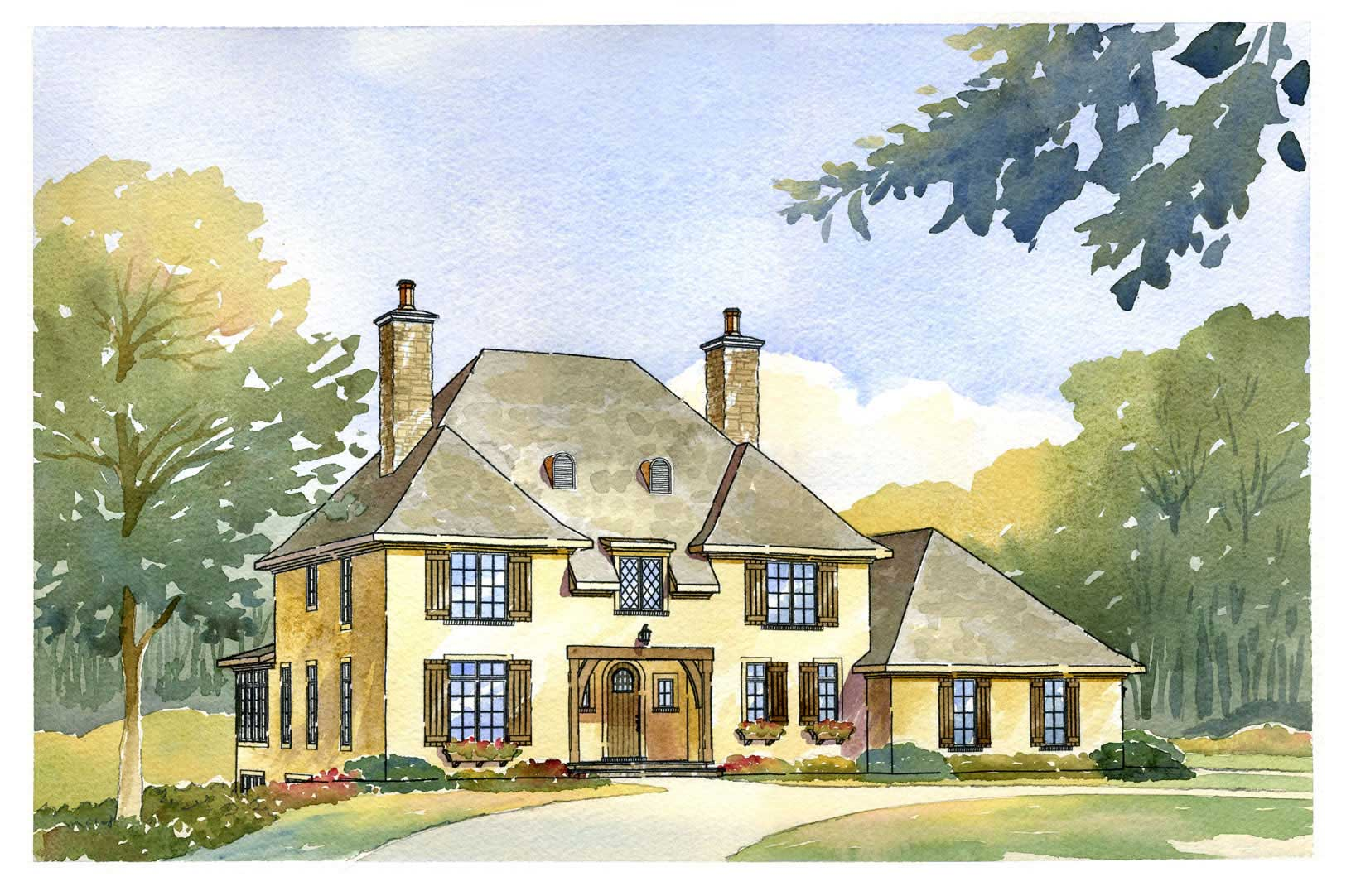 Amazing #168 1077 · This Image Shows The Front Elevation Of These French Country  Homeplans.