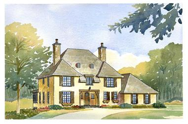This image shows the front elevation of these French Country Homeplans.