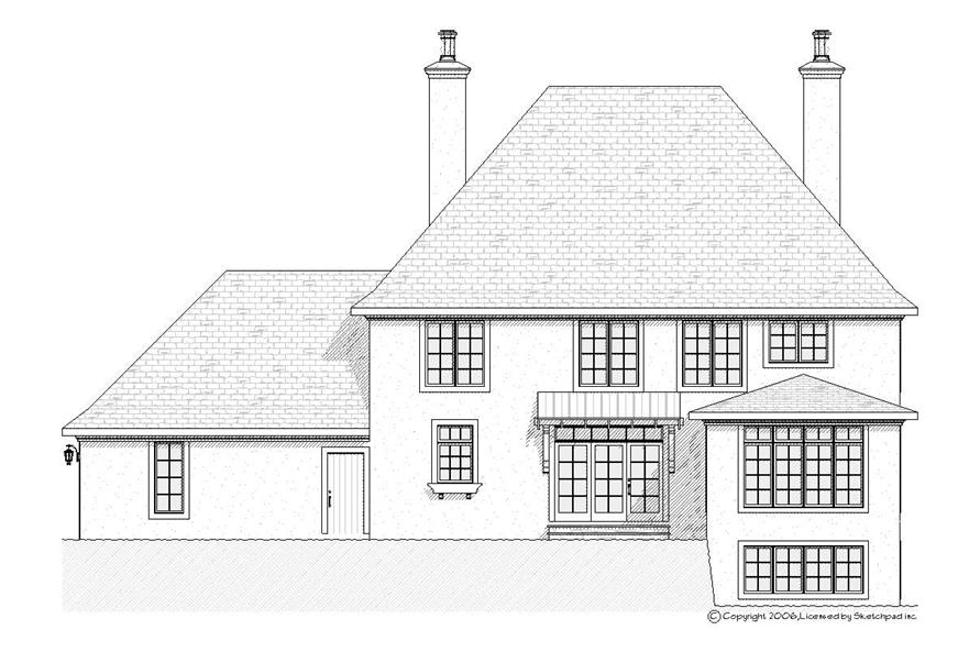 Home Plan Rear Elevation of this 4-Bedroom,2938 Sq Ft Plan -168-1077