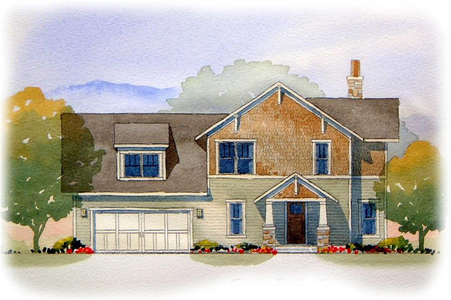 This image shows the front elevation of these Craftsman Houseplans.
