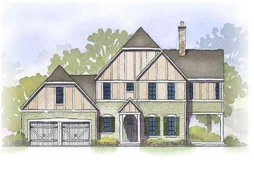 This is a colorful rendering of these Tudor House Plans.