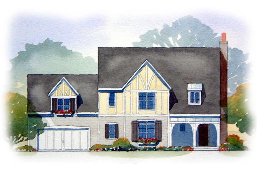 This image shows the front elevation of these Country/Tudor Home Plans.