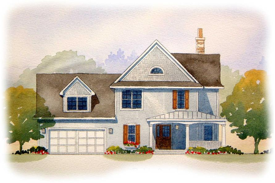 This image shows the front of these traditional house plans.