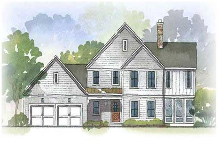 This image is an artist's rendering of these charming Colonial Houseplans.