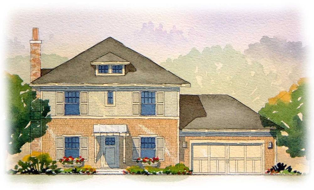 This is a colored rendering of these Georgian House Plans.